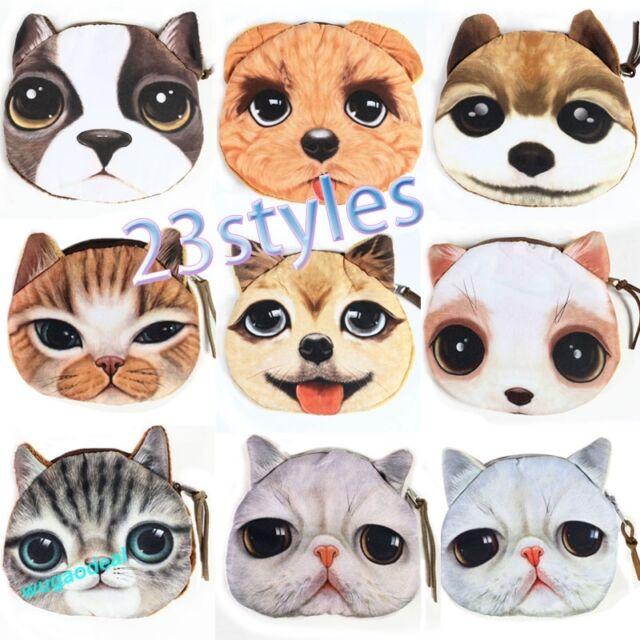 New Kids Cute Cat Dog Face Zipper Case Purse Girls Coin Wallet Makeup Bag Pouch