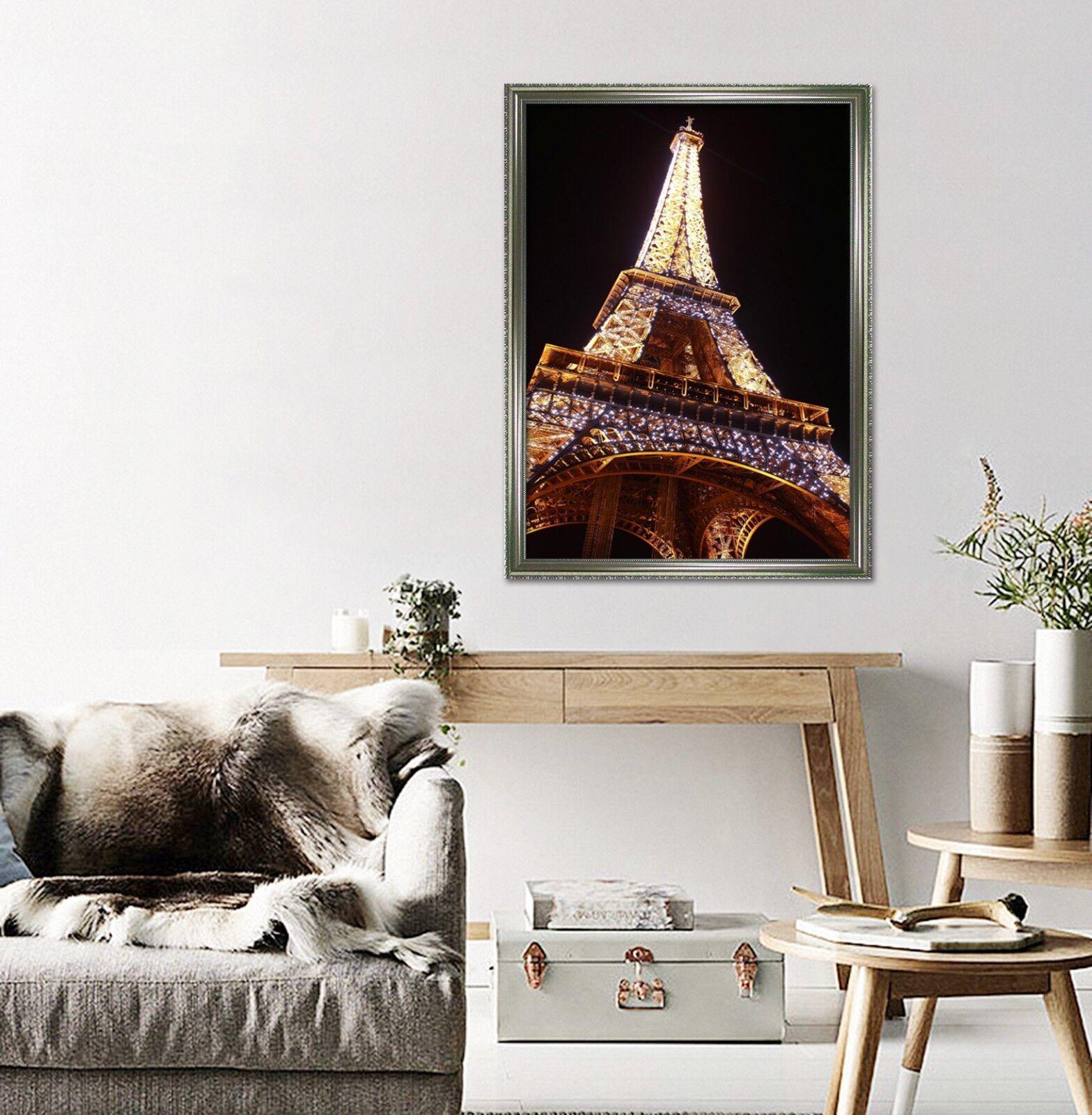 Torre Eiffel Noche 3D 2 Póster Enmarcado Decoración del Hogar Pintura de Impresión Arte AJ Wallpaper
