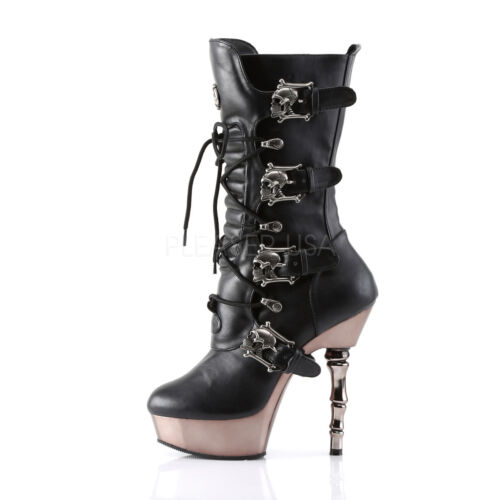 1026 High Muerto Calf Fancy Buckles Black Pleaser Ankle Dress Boots Skull fqwPA5H