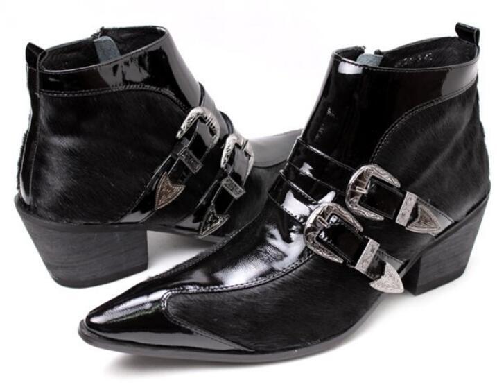 Punk para Hombre Hebilla Cuero Hebilla Formal Puntera Puntiaguda formal Vestido Botín Zapatos