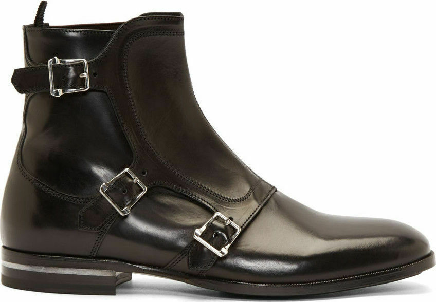 Mens Handmade Boots Strap Leather Double Sole Ankle High Shine Formal Wear shoes