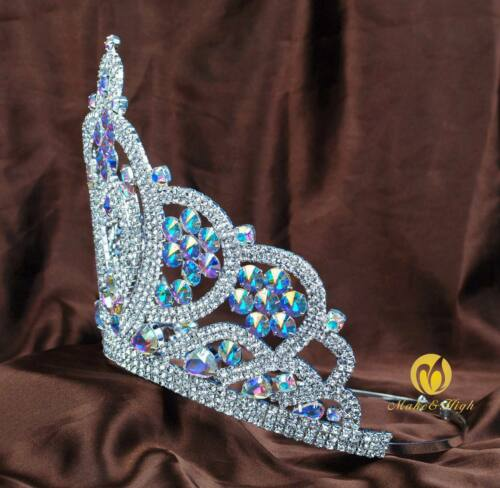 """Large 6/"""" Beauty Contestant Crown AB Crystal Pageant Tiara Wedding Party Art Deco"""
