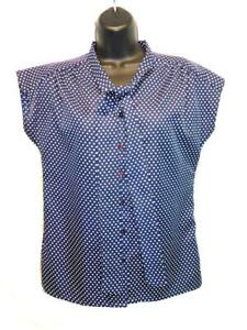 Vintage 70s JCPenney S M Dark Blue White Polka Dot Shirt Ascot Tie Neck Blouse