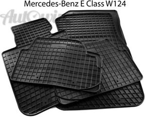 Rubber-Black-Floor-Mats-for-Mercedes-Benz-W124-1984-1997-LHD-Side-New