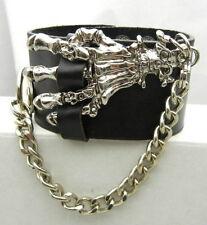TEW120 EMO Gothic Punk  Biker Skull Ghost Hand Cuff Leather Bracelet Wristband