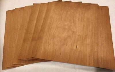 "Cherry Wood Veneer, Raw/Unbacked - Pack of 6 - 9"" x 9"" Sheets (3 sq ft)"