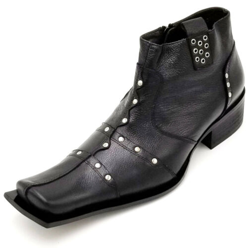 G4H893-1 Black Square Toe Studded With Side Zipper Zota Unique Ankle Boot