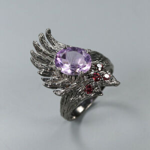 Natural-Amethyst-925-Sterling-Silver-Ring-Size-7-75-RR17-2174