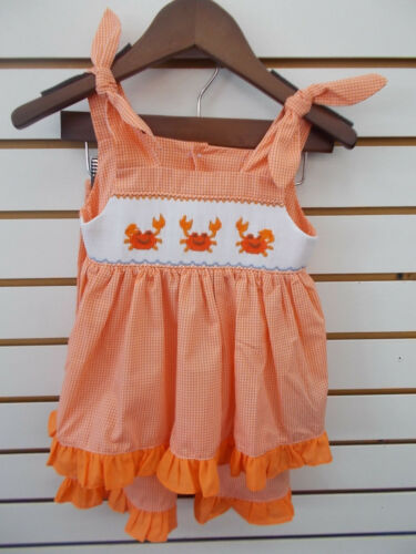 6X Toddler Infant /& Girls Mom /& Me 2pc Orange or Bue Smocked Sets Size 12mo