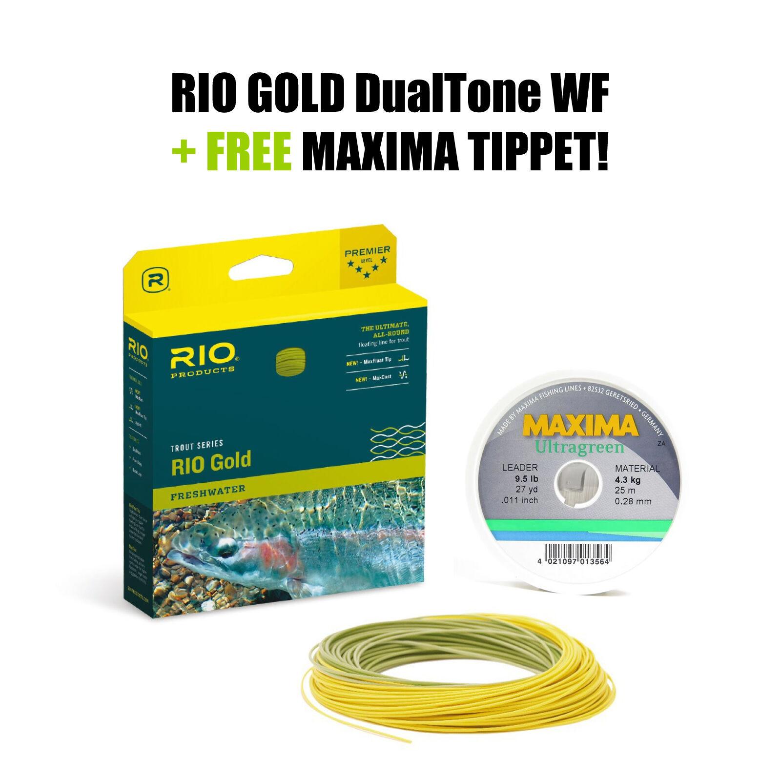 RIO gold DualTone WF5 Floating - Fliegenschnur - Fly Line + FREE MAXIMA Tippet