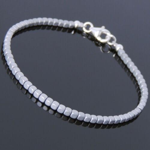 Men/'s Women Matte Hematite Sterling Silver Bracelet 2mm Cube Beads DIY-KAREN 716