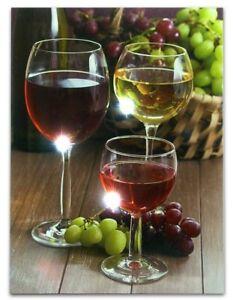Wall Art Canvas Framed Grapes Wine Led Light Kitchen Home Living