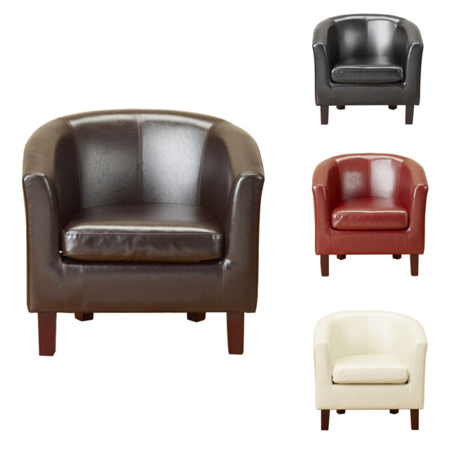 Luxury Bonded Leather Tub Chair Armchair for Dining Living Room Office Reception