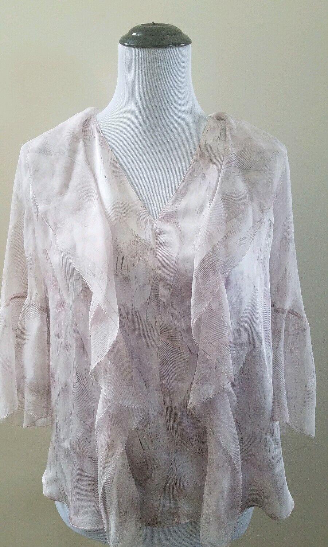Elie Tahari faith blouse Aura NWT Ruffled XS fits S  Rosa sheer bell sleeves