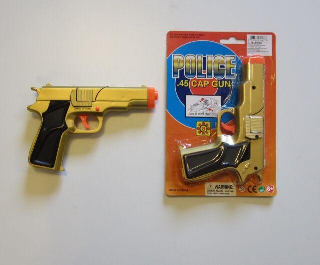 "1 NEW GOLD TOY CAP GUN 7"" POLICE GUNS .45 DETECTIVE  PISTOL FIRES 8 RING CAPS"
