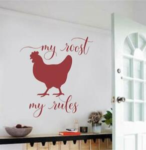 Image Is Loading My Roost My Rules Chicken Kitchen Decor Vinyl