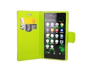 Style-Livre-Telephone-Portable-Cas-Sac-Etui-Etui-en-Bleu-Vert-de-Sony-Xperia-Xz