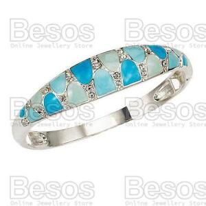 AVON-ENAMEL-ELEGANCE-stretch-CUFF-BRACELET-bangle-SILVER-BLUE-crystal-GIFT-BOX