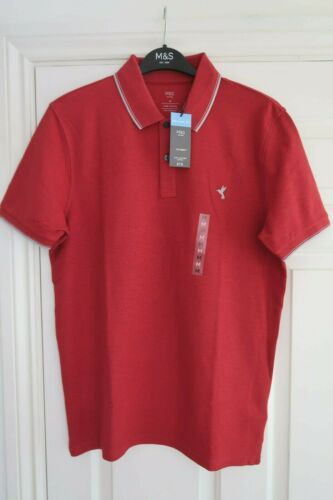 MENS M/&S POLO SHIRT SIZE SMALL OR MEDIUM BNWT RRP £15 SHORT SLEEVED RED