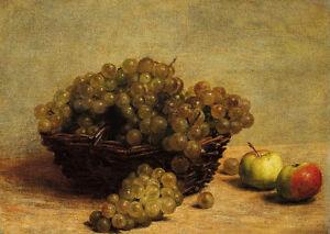 Oil-painting-Henri-Fantin-Latour-Nature-Morte-Raisin-et-Pommes-in-basket