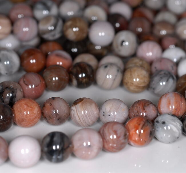 8MM PETRIFIED WOOD AGATE GEMSTONE GRADE AA  FACETED ROUND 8MM LOOSE BEADS 15.5/""