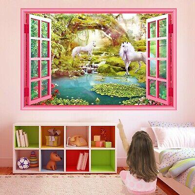 Vendita Economica Unicorno Fantasy Foresta Wall Sticker Murale Decalcomania Stampa Arte Girls Room Decor Az42- Sconto Online