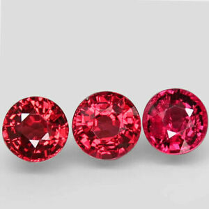 2.46 Carats 5.5mm 3pcs Lot NATURAL Rhodolite GARNET Purplish Pink Round Namibia