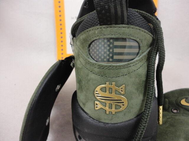Nike Air More Money QS, Uptempo, Sequoia / Metallic Gold / Black, Size 13
