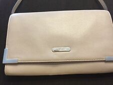 MICHAEL KORS ASH GREY LEATHER Oversized CLUTCH Beverly Shoulder Bag NEW
