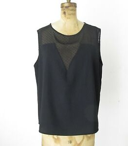 Mango Mng Suit Collection Black Sheer Top Dressy Blouse Top Shirt Sz