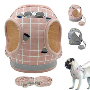 Grey-Pink-Soft-Mesh-Small-Dog-Vest-Harness-Lead-Pet-Cat-Clothes-Jack-Russell-Pug