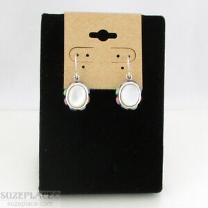 STERLING-SILVER-925-MOTHER-OF-PEARL-OVAL-EARRINGS-SMALL-STONES-ON-SIDES-NEW