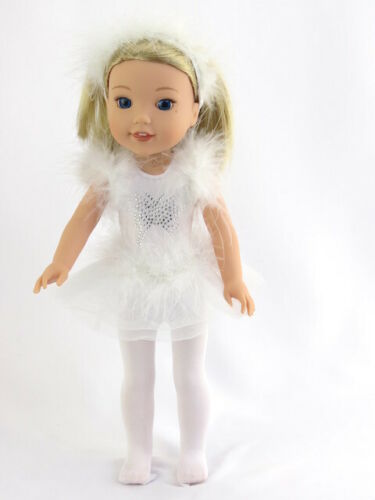 """White Butterfly Ice Skating Outfit 3 PC For 14.5/"""" Wellie Wishers Doll Clothes"""