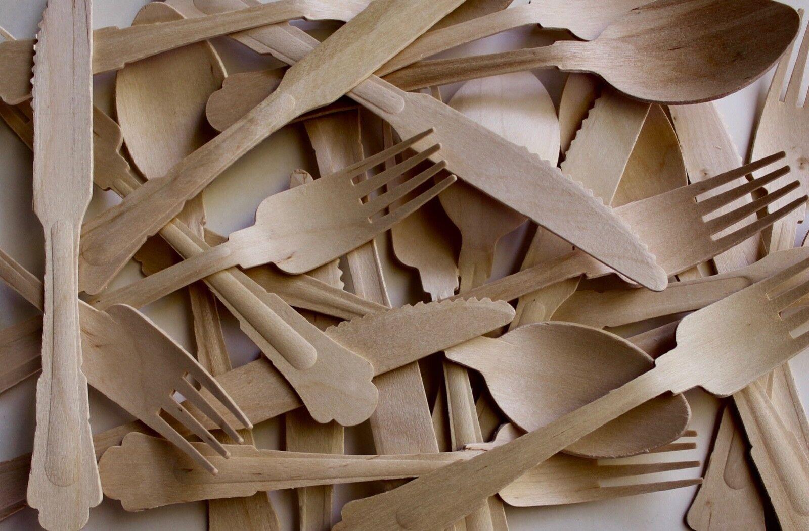 Wooden birch cutelry set 900- fork-spoons-knife 300 of each