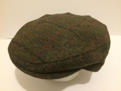 GREEN FLECK RED HARRIS TWEED FLAT CAP DRIVING HAT SCOTS BUNNIT FROM SCOTLAND