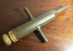 Collectable-Vintage-Large-Two-Handled-Metal-Sausage-Stuffer-with-Wooden-Plunger