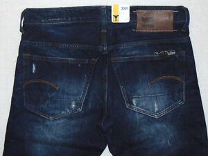 Détails sur G STAR RAW 3301 Low Tapered dark aged W32 L34 homme bleu denim jeans afficher le titre d'origine
