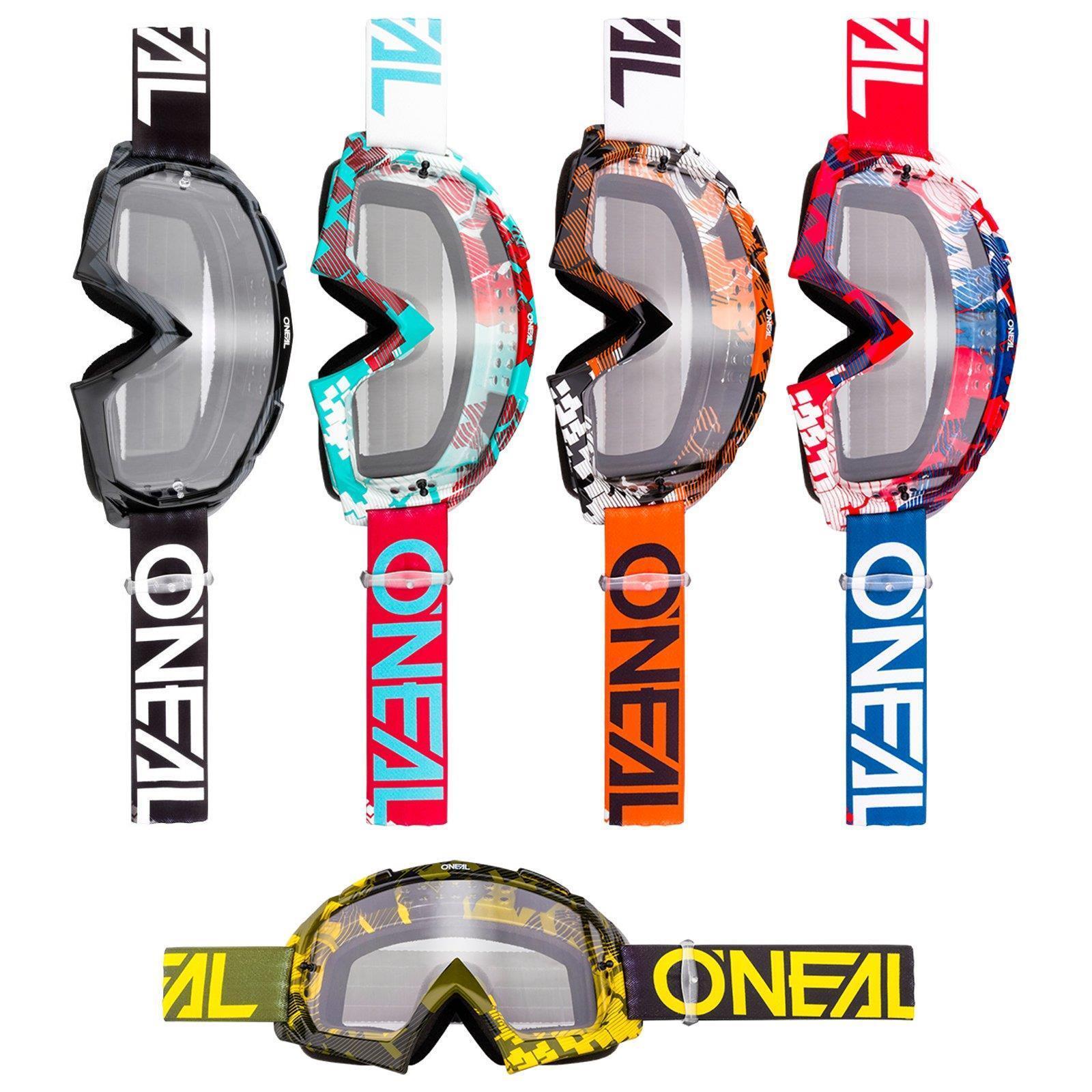 ONeal B-10 Goggle Pixel MX Brille Klar Moto Cross  Downhill AntiFog Mountainbike  various sizes
