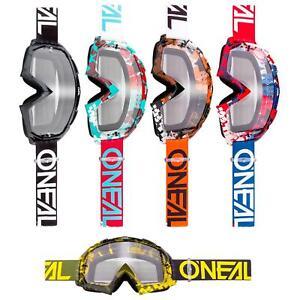 Oneal B-10 Goggle Pixels Mx Lunettes Clair Moto Cross Alpin Antifog Vtt-afficher Le Titre D'origine Blanc Pur Et Translucide