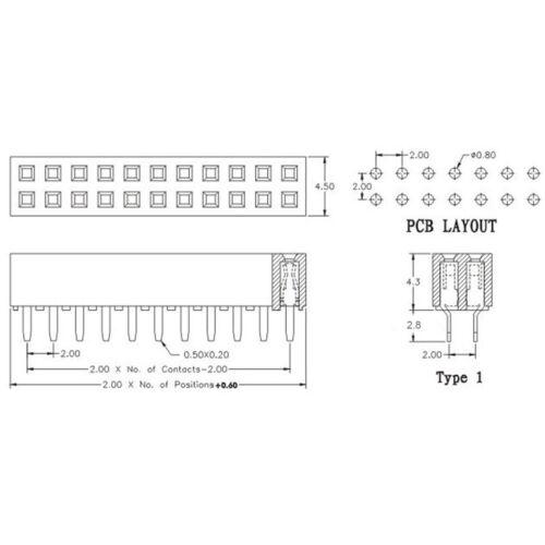 20Pcs 2mm 2.0mm Pitch 2x11 Pin 22 Pin Straight Dual Row Pin Female Header Strip