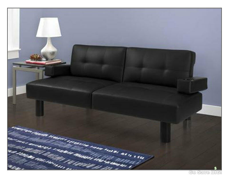 Modern Futon Sofa Bed Mainstays Faux Leather Armrests