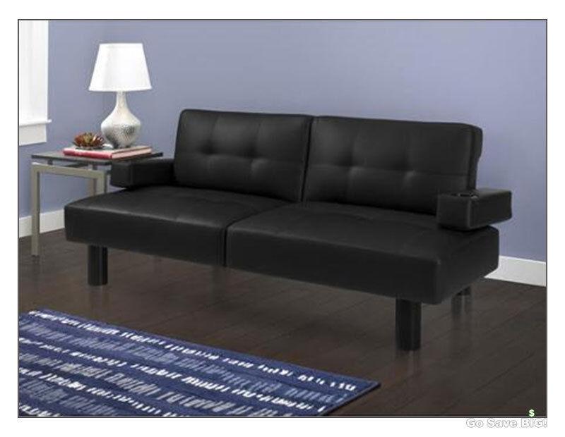 modern futon sofa bed mainstays faux leather armrests sleeper futons beds black ebay. Black Bedroom Furniture Sets. Home Design Ideas
