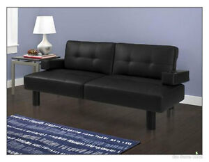 Image Is Loading Modern Futon Sofa Bed Mainstays Faux Leather Armrests