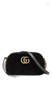 9e3ad4420503 Image is loading 1200-Gucci-GG-Marmont-Velvet-Shoulder-Bag-Black-