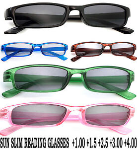 Slim Sun Readers +1.0 +1.5 +2.5 +4.0 READING SUNGLASSES GLASSES HOLIDAY LA