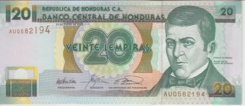 AU//UNC Honduras Banknote P87b 20 Lempiras 2003