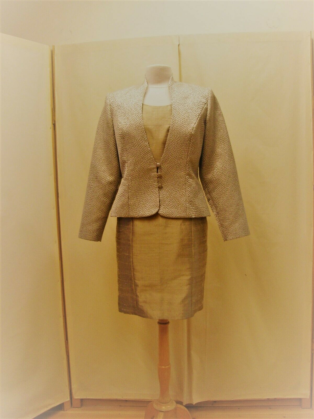 Formal jacket size 14 short fitted shape with high collar ex sample Lt. Khaki