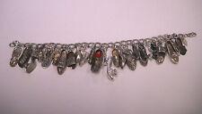 """Vintage Sterling Silver Shoe Charm Bracelet  7"""" + bonus"""
