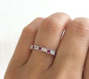 3Ct-Princess-Cut-Pink-Ruby-Diamond-Milgrain-Wedding-Band-14K-White-Gold-Finish