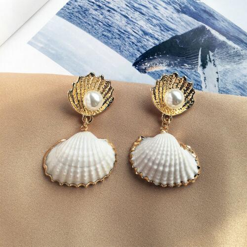 Women Pearl Sea Shell Pendant Statement Dangle Drop Earrings Beach Jewelry Gift